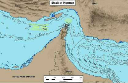 Figure 11. Strait of Hormuz, with bathymetry contours (in meters). The defined shipping transit lanes are shown in yellow