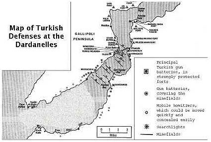 Figure 5. Map of Turkish defenses at the Dardanelles (adapted from [5])