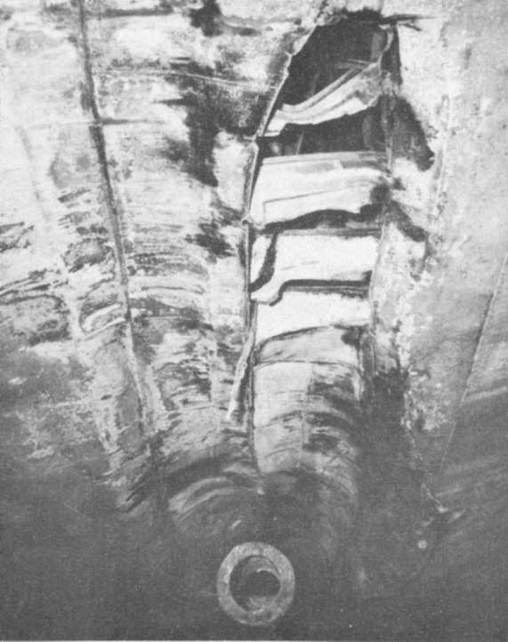 Photo 68: FOOTE (DD-511) Damage to shell caused by starboard shaft.