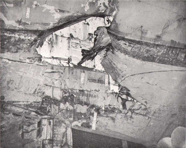 Photo 73: INTREPID (CV 11) Damage to starboard side and rudder.