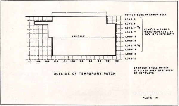 PLATE 16 - OUTLINE OF TEMPORARY PATCH - U.S.S. CANBERRA CA-70.