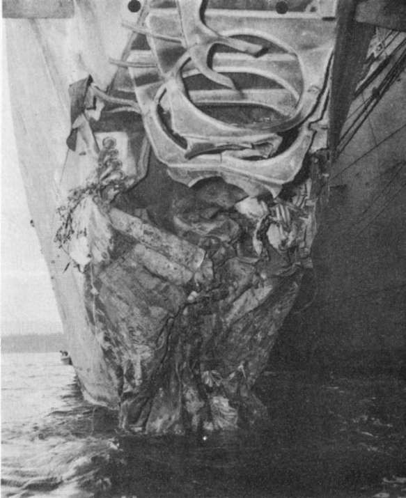 Photo 33: O'BRIEN (DD 415) Damage to bow from torpedo hit.
