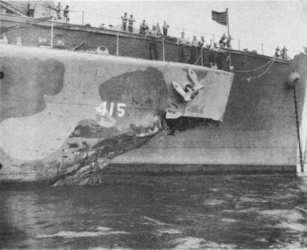 Photo 32: O'BRIEN (DD 415) Damage to how from torpedo hit.