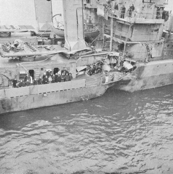 Photo 56: KEARNY (DD 432) Damage to shell plating and main deck.