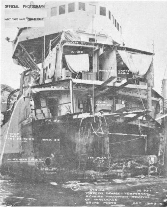 Photo 59: SELFRIDGE (DD 357) View of bow after removal of wreckage and start of temporary repairs.