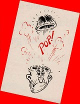 Caricature of the top of a man's head popping off