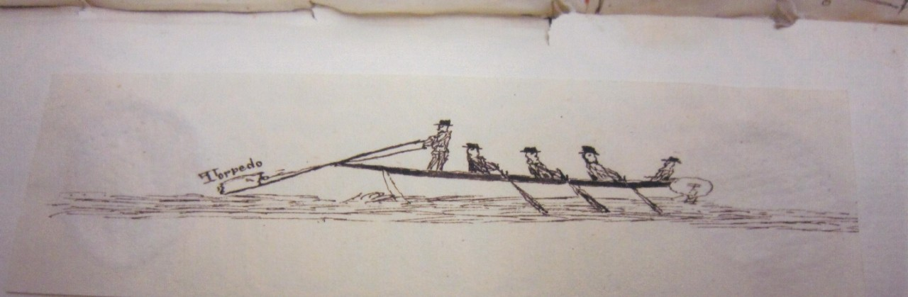 Rodgers journal sketch of Fulton's Torpedo Boat in operation.