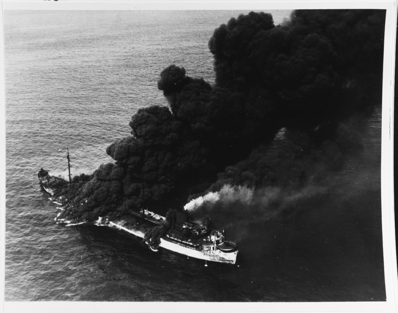 SS Pennsylvania Sun burning after being torpedoed by U-571, July 1942. Naval History & Heritage Command photograph #80-G-61599.