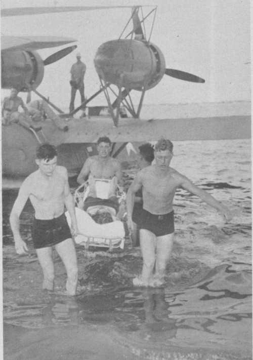 Coast Guard seaplane landing the survivors of U-701.