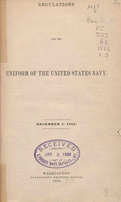 U.S. Navy Uniform Regulations, 1866 - title page