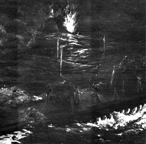 Night Battle - Painting by E.V. Vandos