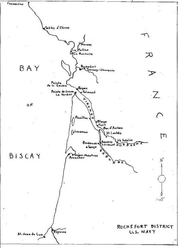 Map: Rochefort District, US Navy, showing Bay of Biscay and France.