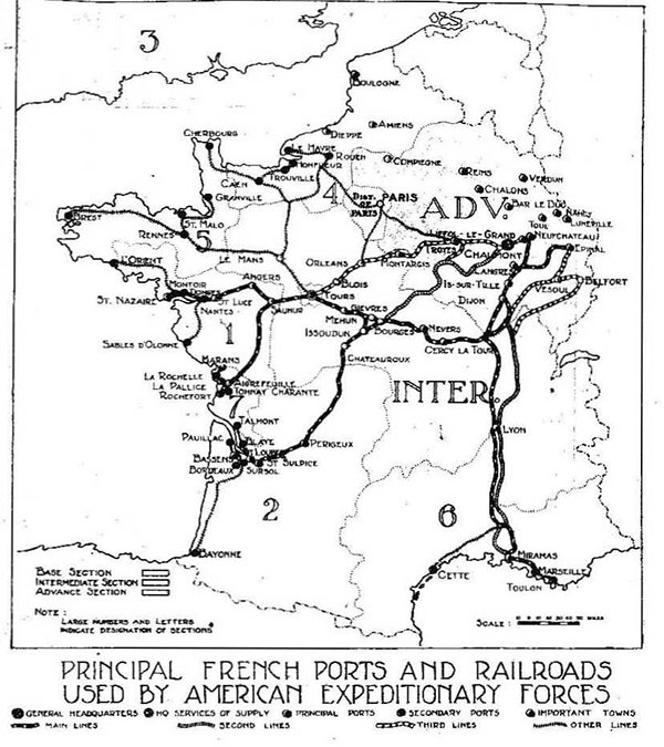 "Map of France showing ""Principal French Ports and Railroads Used by American Expeditionary Forces."