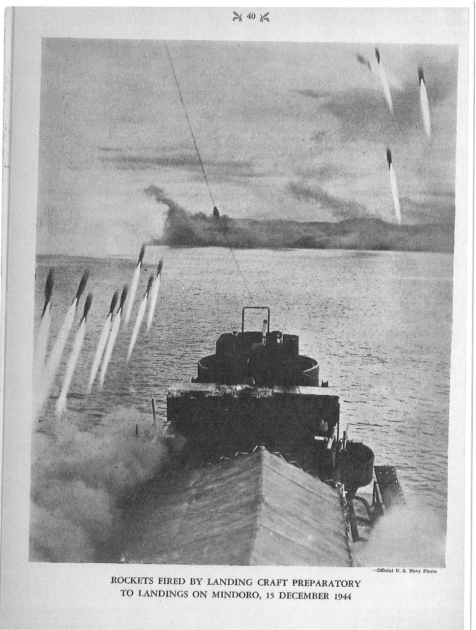 Rockets fired by landing craft preparatory to landing on Mindoro, 15 December