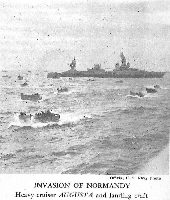 Invasion of Normandy, heavy cruiser Augusta and landing craft