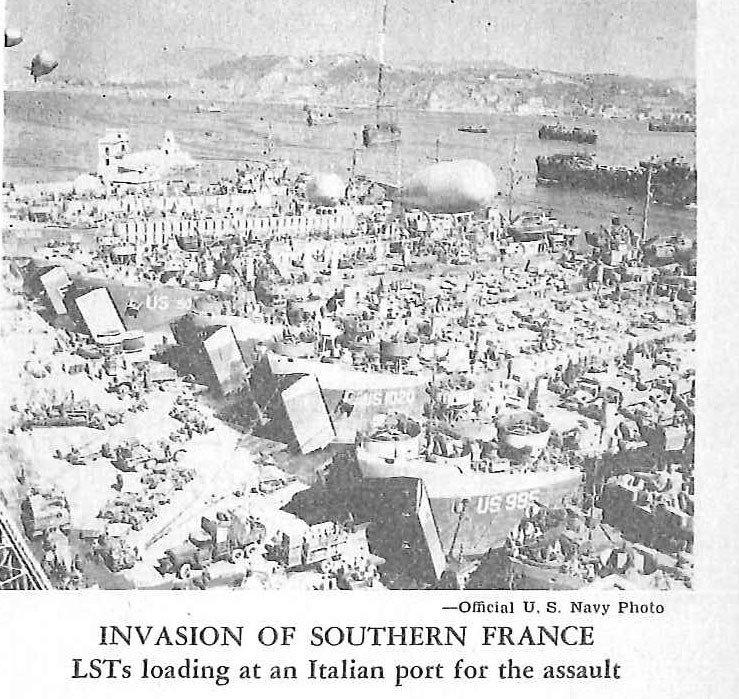 Invasion of Southern France, LSTs loading at an Italian port for the assault
