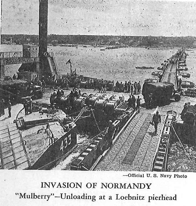 "Invasion of Normandy, ""Mulberry""--Unloading at a Loebnitz pierhead"