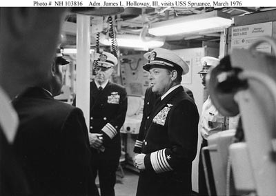Image - Admiral James Holloway, III, visits USS Spruance, March 1976.