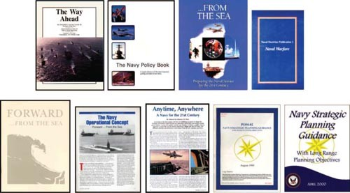 Image - various publication covers in a collage (The Way Ahead, The Navy Policy Book, ...From the Sea, Naval Warfare, Forward...from the Sea, The Navy Operational Concept, Anytime-Anywhere, POM 91, Navy Strategic Guidance)