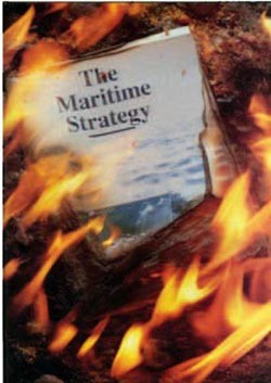 Image - The Maritime Strategy publication in flames, cover from US Naval Institute Proceedings
