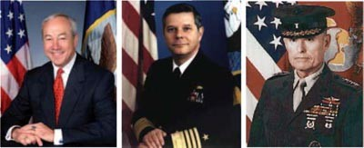 Image - Secretary of the Navy John H. Dalton, CNO Admiral Jeremy M. Boorda, and CMC General Carl E. Mundy