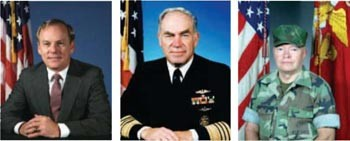 Image - (L-R) Secretary of the Navy H. Lawrence Garrett, III - CNO Frank B. Kelso, II - CMC Gen Alfred M. Gray, Jr.