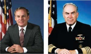 Image - Secretary of the Navy H. Lawrence Garrett, III (left) and CNO Admiral Frank B. Kelso, II