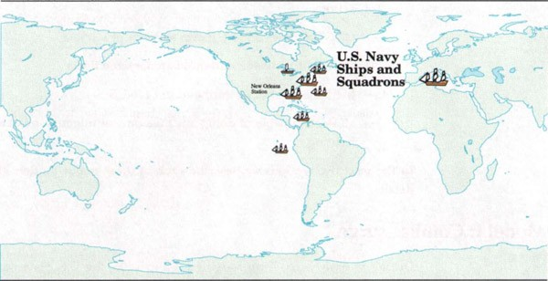Image of world map with US Navy deployment, 1789-1815