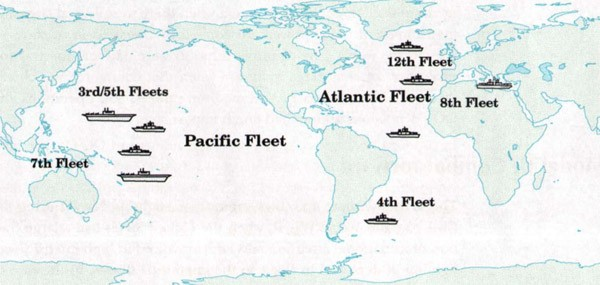 Image of world map with US Navy deployment, 1943-1945