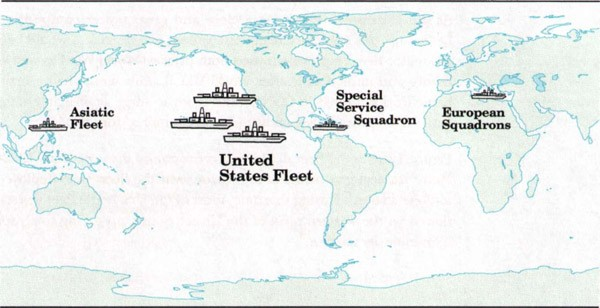 Image of world map with US Navy deployment, 1922-1937