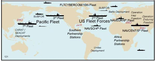 Image of map with ships & submarines placed to show USN deployment strategy