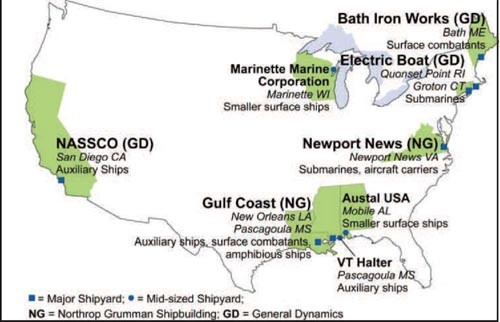 Image of US map showing major US private naval shipyards