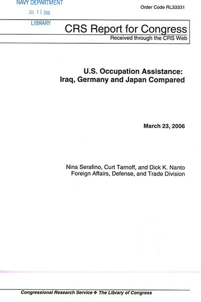 "First page of ""US Occupation Assistance."""