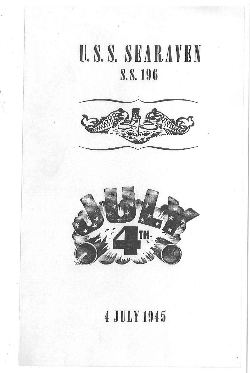 Cover of USS Searaven (Submarine) SS 196 4 July 1945 Menu
