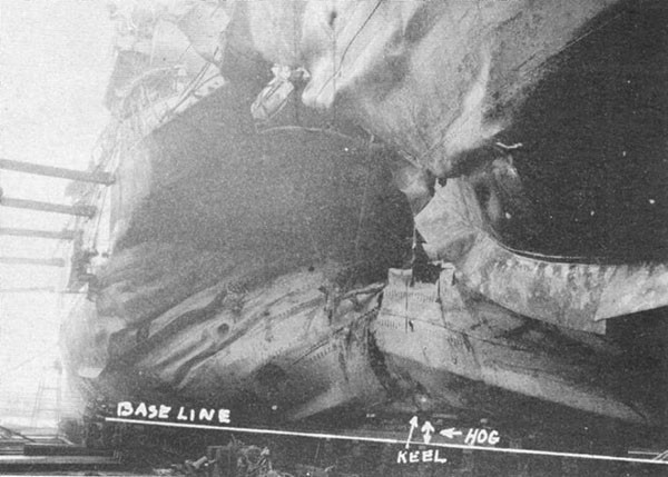 Photo 3: 19 January 1943 - General view of torpedo damage looking forward.
