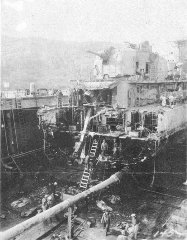 Photo 29: 21 August 1943 - General view of damage to ABNER READ after drydocking at Adak.