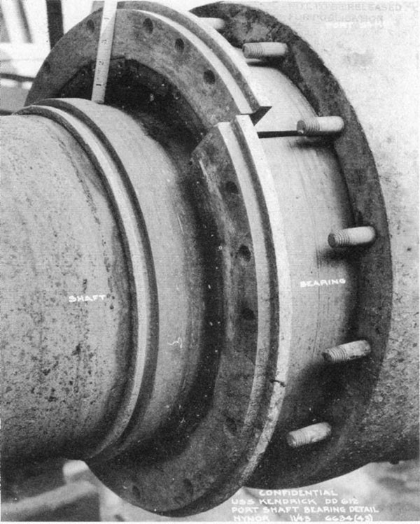 Photo 46: Damage to after port strut bearing caused by lifting of stern.