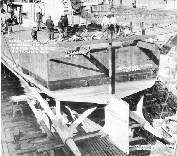 Photo 48: General view of stern showing temporary rudder designed by the Commanding Officer.