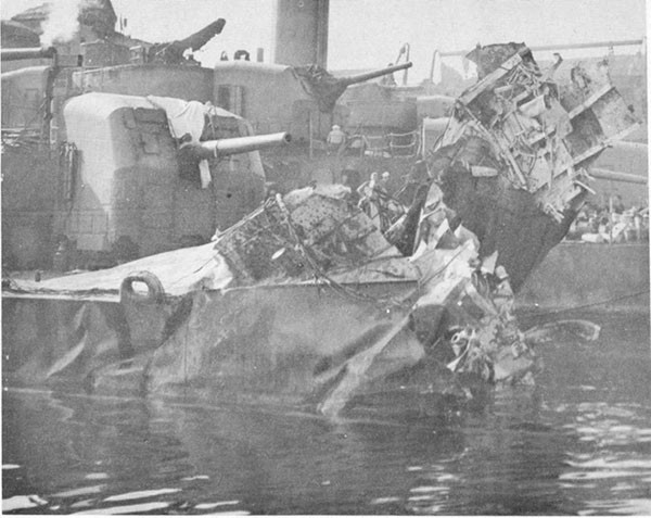 Photo 57: Starboard quarter view of damage to USS FOOTE upon arrival at Purvis Bay, Tulagi.