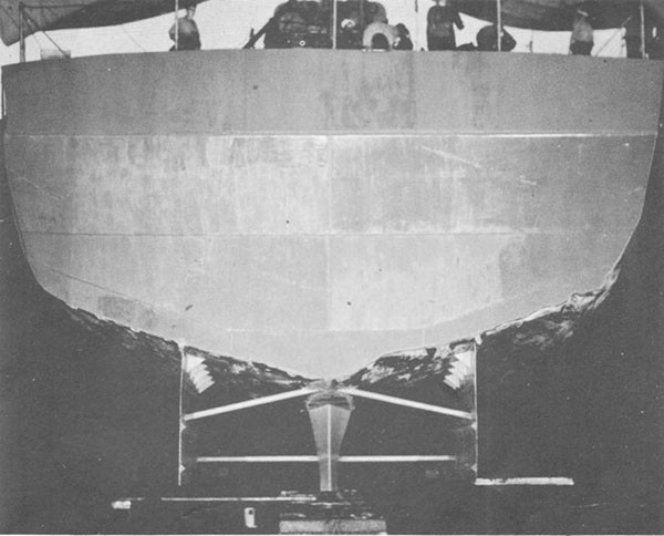 Photo 61: Stern view after temporary repairs were completed.