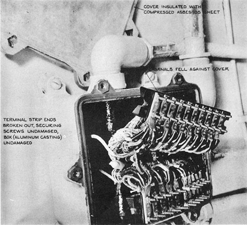 Photo 5-12: KINGFISH (SS234). View showing damage to terminal strips in connection boxes which allowed the terminals to fall against the box and cause short-circuits.