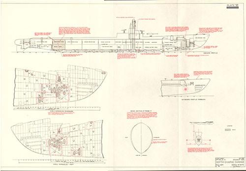 submarine report vol 1, war damage report no 58plate vi depth charge damage