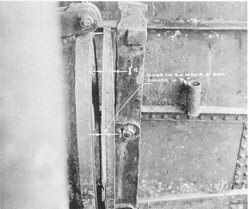 Photo 5-6: KINGFISH (SS234). View showing distortion to cover of 20mm ready service ammunition stowage located on the after bridge deck.