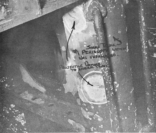 "Photo 13-6: GROWLER (SS215). View showing damage to No. 1 periscope shear trunk in bridge ""covered wagon""."