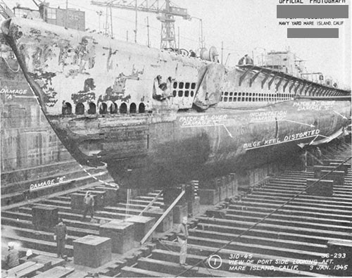 Photo 14-1: DRAGONET (SS293). General view looking aft on port side, showing damaged areas resulting from grounding.
