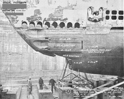 "Photo 14-2: DRAGONET (SS293). View from port side showing damage ""B"" to torpedo tube shutters and fairing structure."