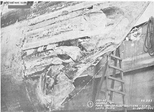 "Photo 14-3: DRAGONET (SS293). View from starboard side showing damage ""B"" to torpedo tube shutters and fairing structure."