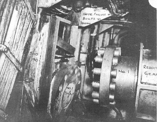 Photo 7: No. 1 engineroom looking to port showing No. 1 shaft parted at flange coupling.