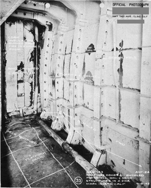 Photo 14: Buckled structure in A-310A due to detonation of bomb No. 4.