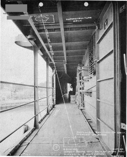 Photo 5: Path of direct hit bomb No. 3 through superstructure and main decks.
